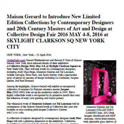 ArtFixDaily, Maison Gerard to Introduce New Collections