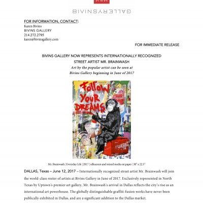 Press release: Mr. Brainwash represented by Bivins Gallery