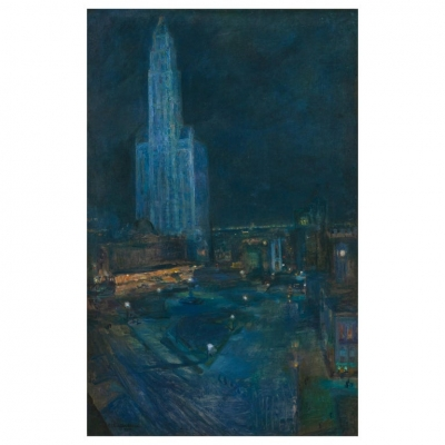 """Woolworth Tower & City Park"" Painting by Ethel Wallace '1885-1968"