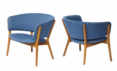 Nanna Ditzel ND83 Lounge Chairs Upholstered in Blue Fabric