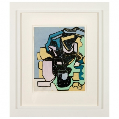 "Nell Blaine ""Untitled"" Abstract Mixed-Media on Paper in Frame"