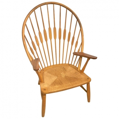 "Hans Wegner ""Peacock"" Chair in Ash and Teak with Woven Seat"