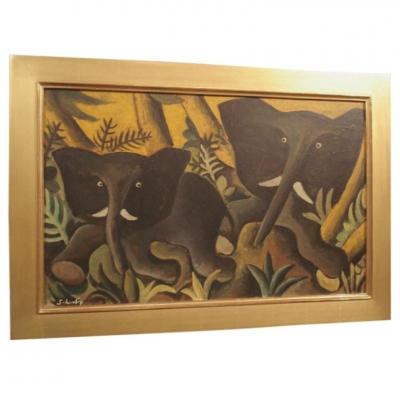 Hans Scherfig Early Elephants Painting