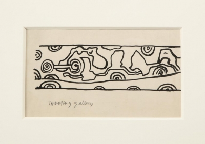 """Nell Blaine Ink Drawing on Paper """"Shooting Gallery"""""""