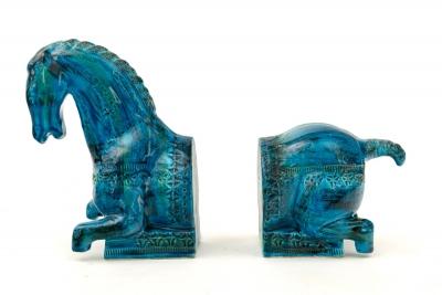 Bitossi 'Rimini Blu' Horse Bookends by Aldo Londi