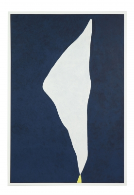 "Adja Yunkers 1900-1983 ""White on Smoke Blue"" Acrylic on Canvas"