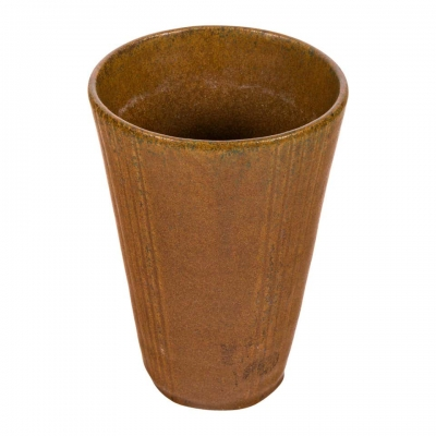 Arne Bang Brown Glazed & Incised Stoneware Vase