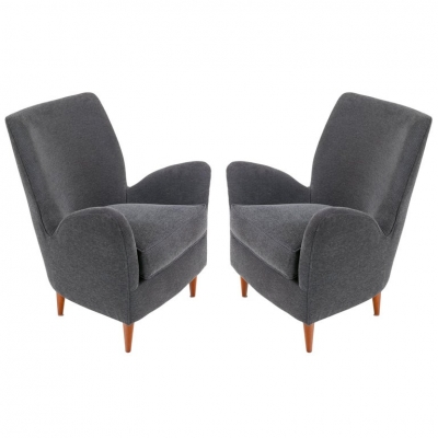 Pair of Gray Italian Midcentury Style Lounge Chairs