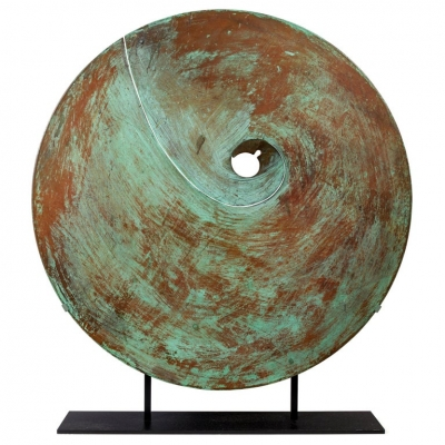 Harry Bertoia Patinated Solid Bronze Gong Sculpture
