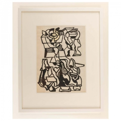 Nell Blaine Abstract Ink Drawing on Paper