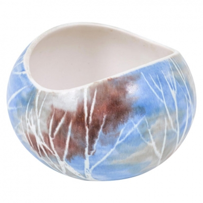 Mid-Century Birch Tree Pattern Pottery Bowl by Anderson Design of Maine