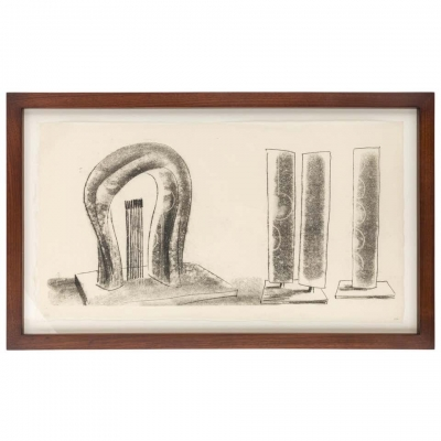 Harry Bertoia Framed Monoprint on Rice Paper