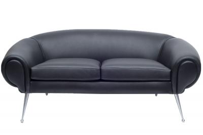 Black Leather Sofa by Illum Wikkelsø