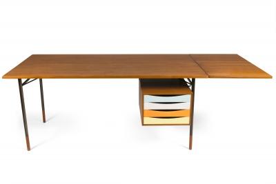 Finn Juhl Model BO69 Nyhavn Teak Desk with Extension for Bovirke