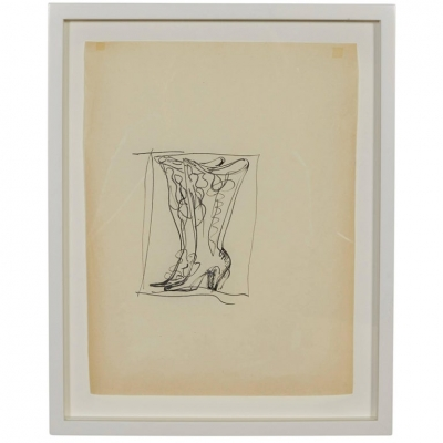 Gio Ponti Drawing of Boots for Christofle