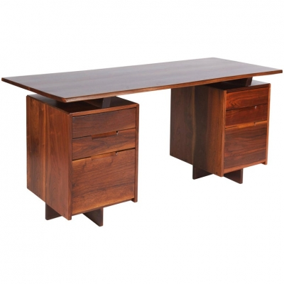 George Nakashima Walnut Double Pedestal Desk
