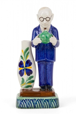 "Royal Copenhagen Aluminia Faience Figurine ""The Boss"" Marked ""Jus"","