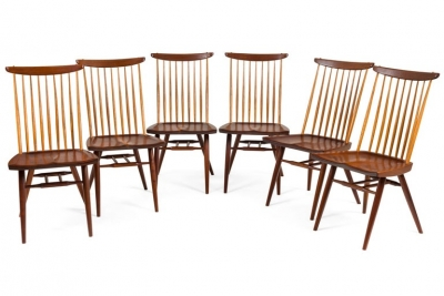 "George Nakashima Set of Six Walnut and Hickory ""New Chairs"""