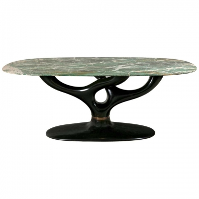 Green Marble Dining/Center Table with Ebonized Base Attributed to Vittorio Dassi