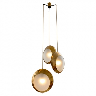 Stilnovo Brass & Textured Glass Three Pendant Light