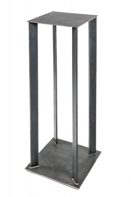 Artist Made Industrial Steel Pedestal Stand by Robert Koch