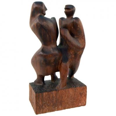 Hand-Carved Walnut Sculpture of Dancers by John Begg