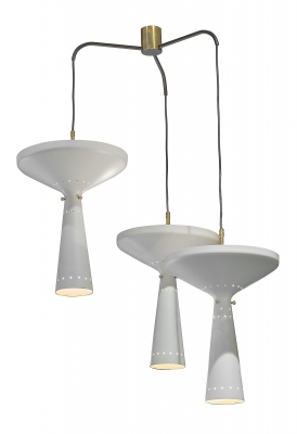 Stilnovo Perforated Metal Three Pendant Chandelier