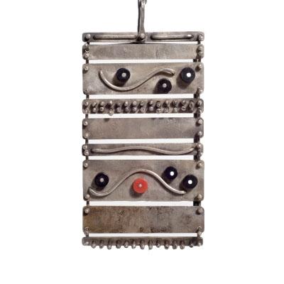 Important Harry Bertoia Silver, Ebony and Coral Pendant