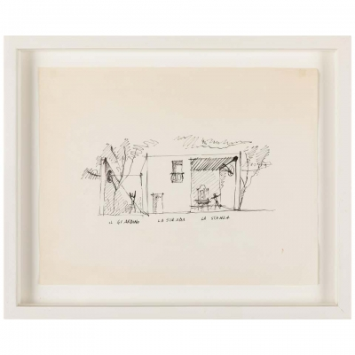 """Gio Ponti Architectural Drawing """"Disegno di una Villa a Bordighera"""""""