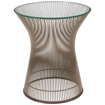 Warren Platner Glass & Chrome Side Table for Knoll
