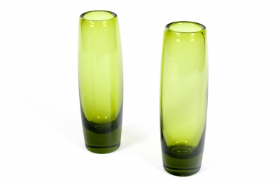 "Holmegaard Glass ""Rondo"" Vases in ""Majgron"" by Per Lutken"