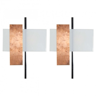 Pair of Copper and Perspex Sconces by BAG Turgi