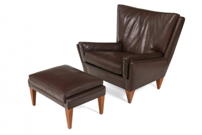 Scandinavian Modern Style Lounge Chair and Ottoman