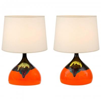 Bjorn Wiinblad Signed Orange Ceramic Table Lamps for Rosenthal