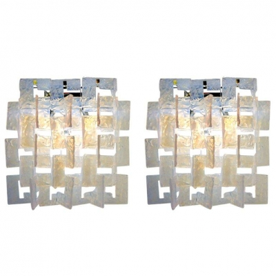 Carlo Nason Interlocking Opalescent Glass Mazzega Sconces