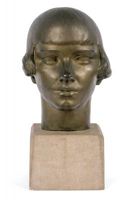 "Gertrude Vanderbilt Whitney Bronze Sculpture ""Young Woman"""