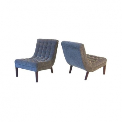 Tufted Slipper Chairs by Lost City Arts