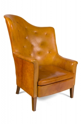 Steen Eiler Rasmussen Asymmetrical Leather Armchair for AJ Iverson