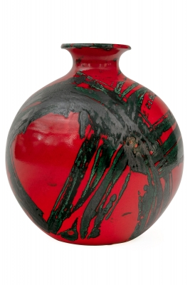 Red Ceramic Mid-century Vase