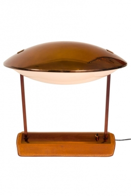 Stilnovo Brass, Leather & Perspex Adjustable Table Lamp Model 8050
