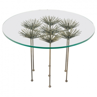 Brutalist Bronze Gilt Floral Table by Lost City Arts