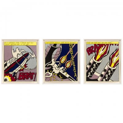 "Roy Lichtenstein Signed Triptych ""As I Opened Fire"" Prints, Stedelijk Museum"