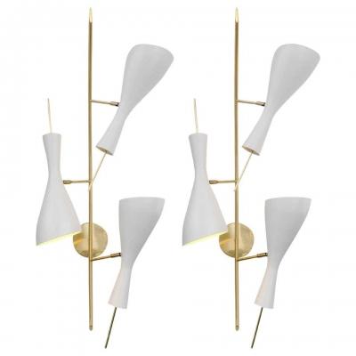 Italian Three Shade Mid-century Style Sconces