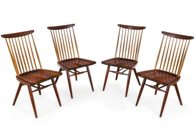 "George Nakashima Set of Four Walnut and Oak ""New Chairs"""