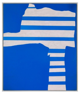 """""""Stripes on Blue"""" Painting by Adja Yunkers"""