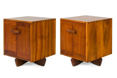 George Nakashima Walnut & Maple Burl Kornblut Nightstands or Cabinets