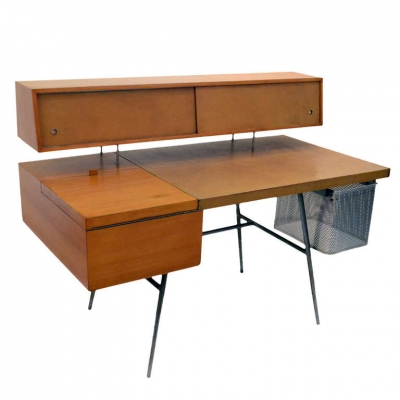 George Nelson Wood and Leather Office Desk for Herman Miller