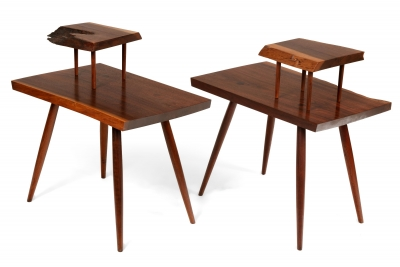 George Nakashima Black Walnut Free Edge Two-Tier End Tables