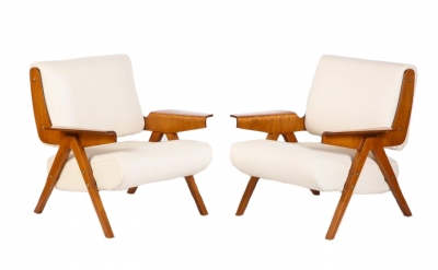 Gianfranco Frattini #831 Lounge Chairs in White Leather for Cassina