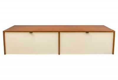 Florence Knoll Walnut Wall-Mounted Drop Front Cabinet for Knoll